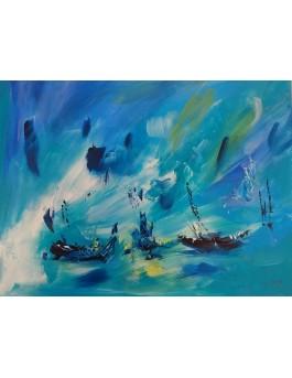 tableau abstrait bleu bateau
