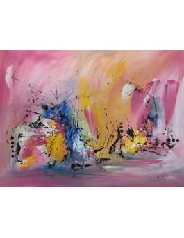 L'atelier des couleurs - tableau abstrait rose sur plaque de bois