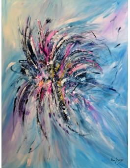 Fleur de l'espace - tableau xxl abstrait ton bleu