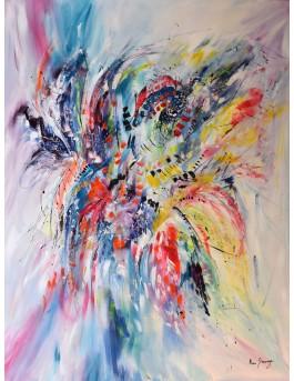 La passion des fleurs - grand tableau coloré de fleurs