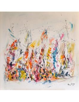 Un monde en fête - grand tableau moderne coloré