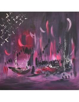 La nuit pourpre - tableau abstrait rose gris sur plaque de bois