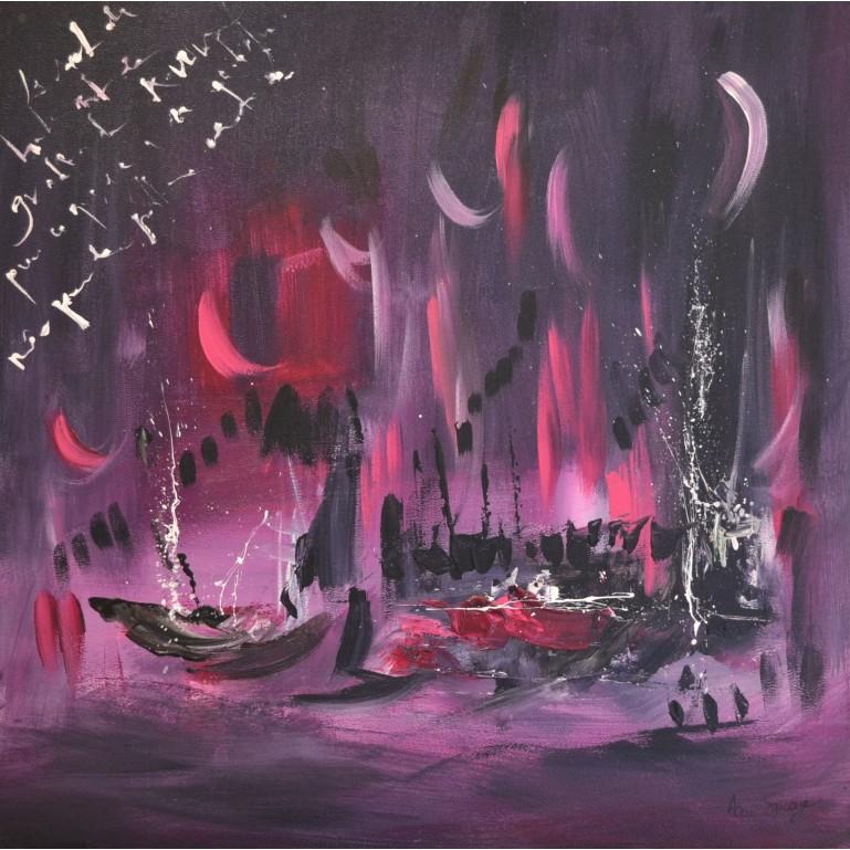 tableau abstrait rose gris