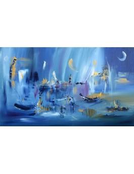 La nuit des pêcheurs - tableau abstrait bleu
