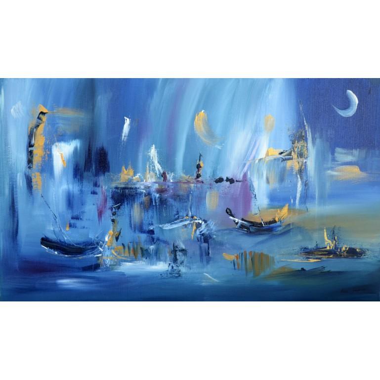 tableau abstrait bleu bateaux