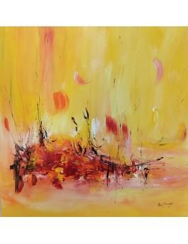 Le lac de feu - tableau abstrait jaune orange sur plaque de bois