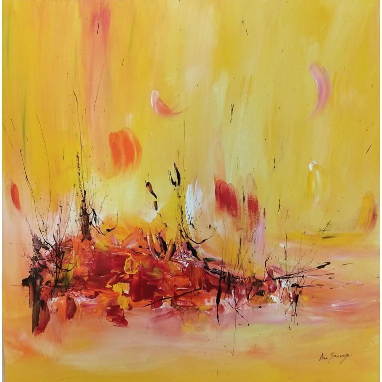 tableau abstrait jaune orange