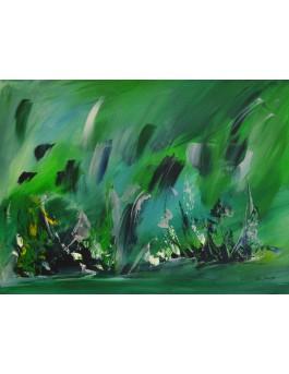 La vie en eaux profondes - tableau abstrait vert sur plaque de bois