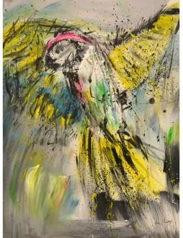 Le beau perroquet  - tableau abstrait multicolore sur plaque de bois