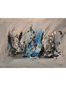 Portail de glace - tableau abstrait gris noir blanc bleu sur plaque de bois
