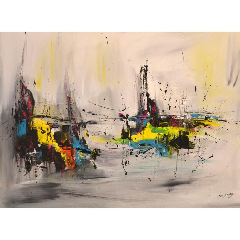 tableau abstrait gris et couleurs