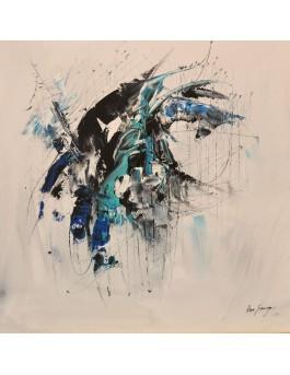 Entrelacé - tableau abstrait blanc et bleu sur plaque de bois