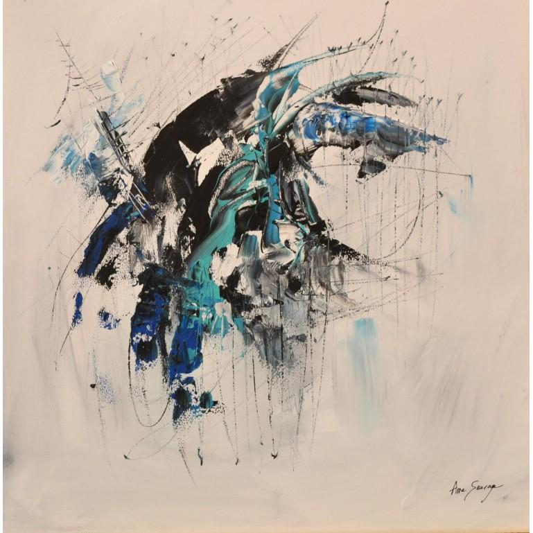 tableau abstrait noir blanc bleu