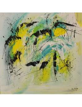 Purifié - tableau abstrait jaune bleu vert sur plaque de bois