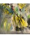 tableau abstrait multicolore perroquet