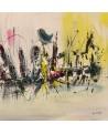 tableau abstrait gris et jaune