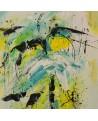 tableau abstrait jaune bleu vert
