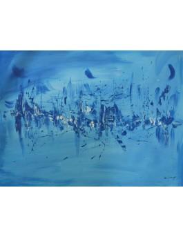 Belle nuit - tableau abstrait bleu en monochrome sur plaque de bois