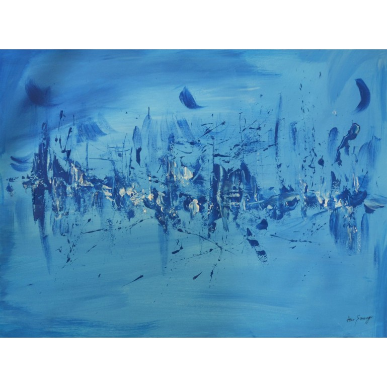 tableau abstrait en monochrome bleu