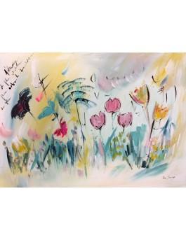 tableau contemporain de fleurs