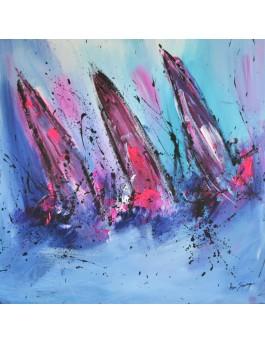 tableau abstrait de bateaux en mer