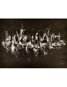 tableau abstrait noir et blanc