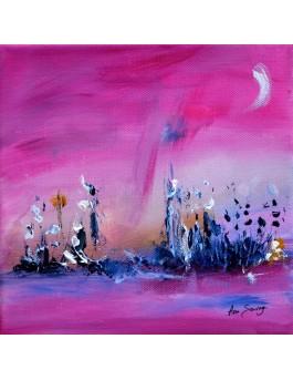 La nature s'endort - tableau abstrait rose