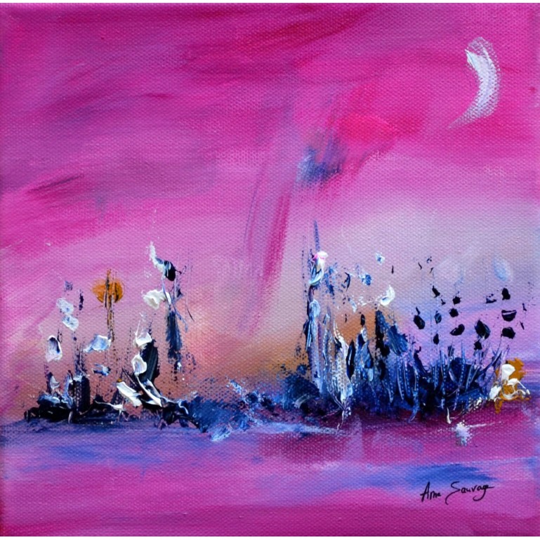 tableau abstrait rose nature