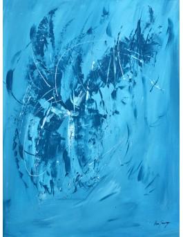 Le vol du phénix - tableau abstrait bleu en monochrome sur plaque de bois