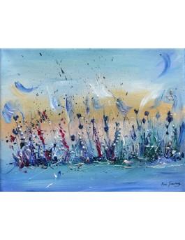 A l'aube du temps - toile abstraite bleu