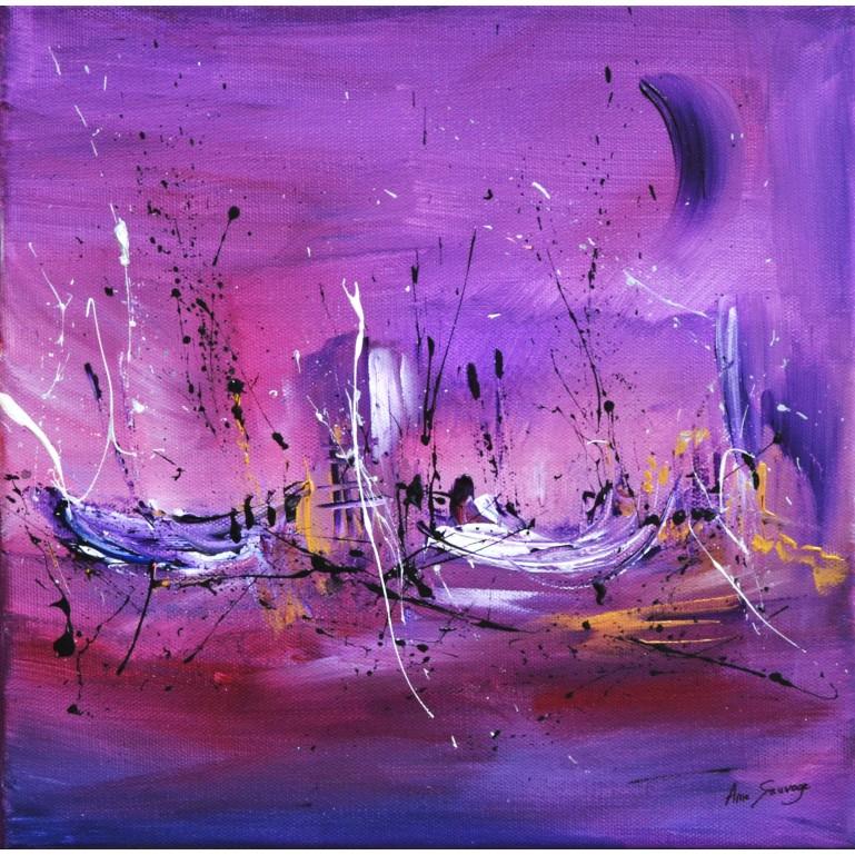 tableau abstrait violet bateaux