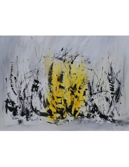 La lumière dans les ténèbres - tableau abstrait gris et jaune sur plaque de bois
