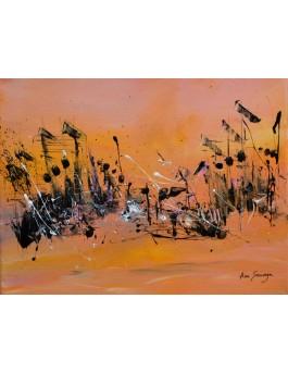 Les habitants du désert - tableau abstrait jaune noir rose