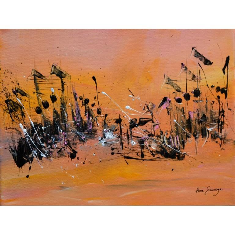 tableau abstrait jaune noir rose