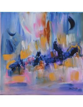 tableau abstrait violet ocre