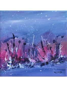 Le ciel pourpre du crépuscule- tableau abstrait bleu rose