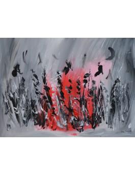La danse du feu - tableau abstrait gris et rouge sur plaque de bois