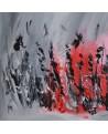 tableau abstrait gris et rouge