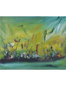 tableau abstrait couleur vert
