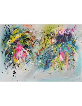 Les fleurs explosives- peinture abstraite sur toile multicolore