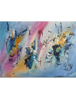 peinture abstraite moderne sur plaque de bois