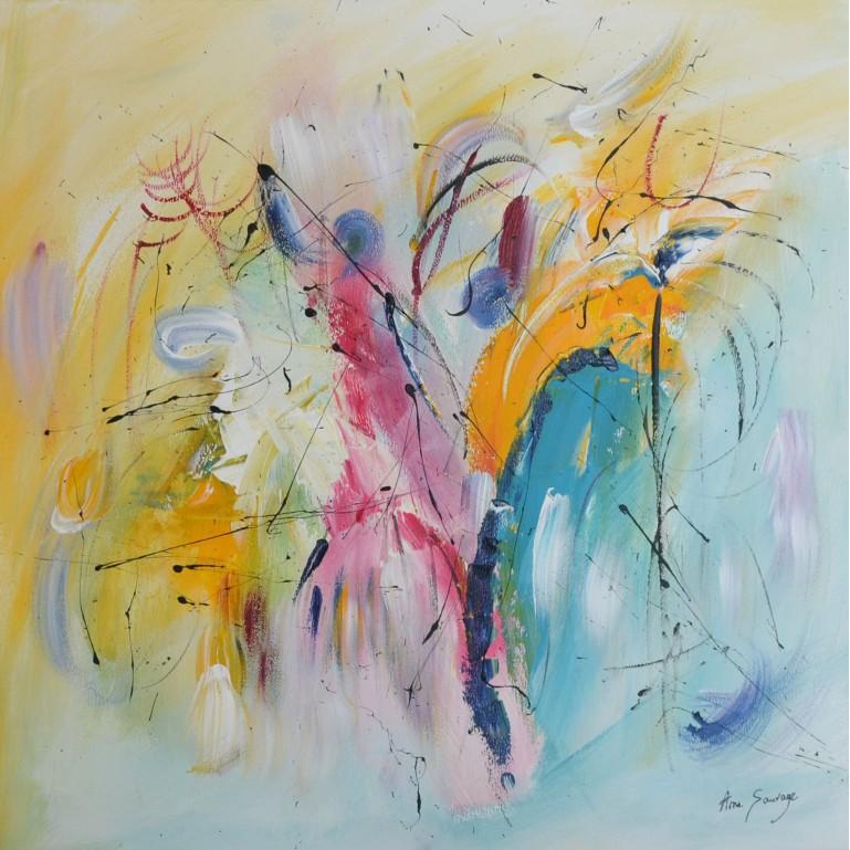 tableau abstrait multicolore
