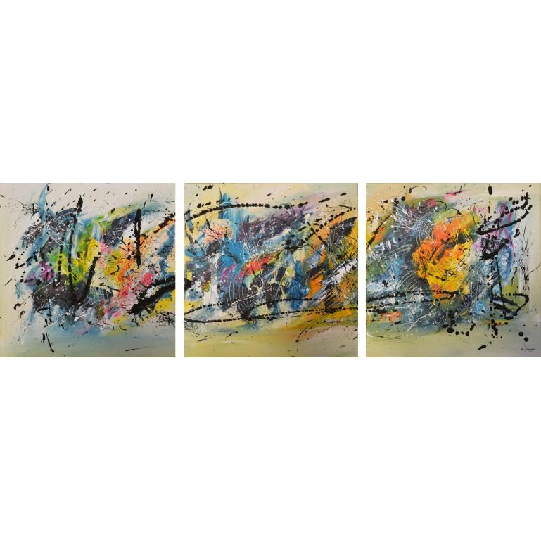 tableau triptyque multicolore