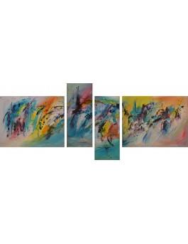Empreintes - tableau multicolore en 4 parties
