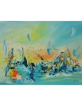 tableau abstrait contemporain multicolore au couteau