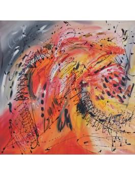 Tempête solaire - tableau abstrait orange rouge jaune