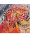 tableau abstrait orange rouge jaune