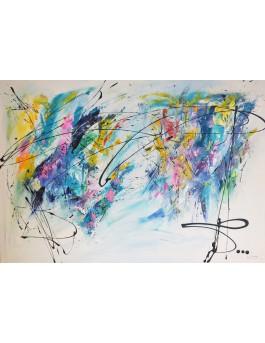 Création gigantesque - grand tableau abstrait multicolore