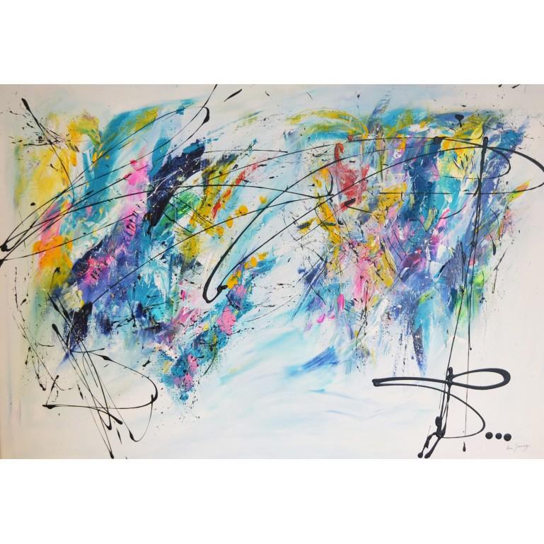 grand tableau abstrait multicolore