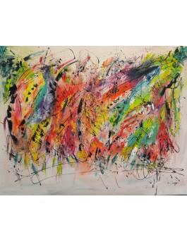 Croisement - grand tableau abstrait multicolore
